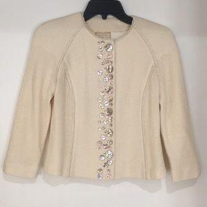 St. John couture knit embellished cream jacket